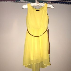 New, yellow dress with brown belt.